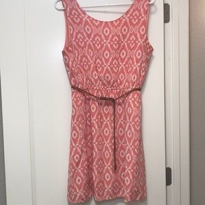 Papaya Coral-Pink Tribal-Print Dress with Pockets!